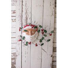 Painted Clay Santa Wall Hanging Holly