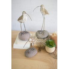 Painted Clay Shore Birds On Rock Bases, Set of 3