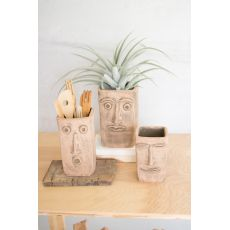Square Clay Face Planters, Set of 3