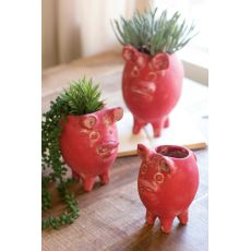 Red Tall Clay Pig Planters Set of 3
