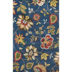 Floral & Leaves Pattern Wool Hacienda Area Rug