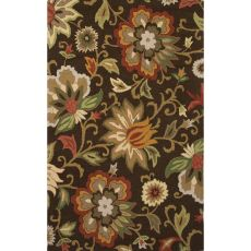 Contemporary Floral & Leaves Pattern Brown/Red Wool Area Rug (9X12)