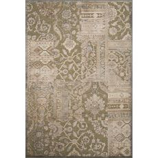 Contemporary Patchwork Pattern Green Rayon And Chenille Area Rug (9.2X12.6)