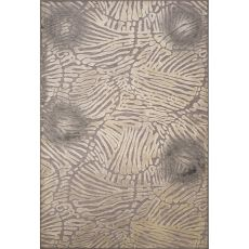 Contemporary Abstract Pattern Gray Rayon and Chenille Area Rug (9.2x12.6)