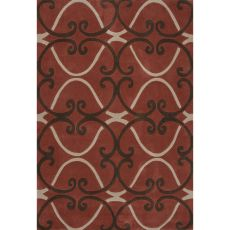Contemporary Trellis, Chain And Tile Pattern Red Polyester Area Rug (7.6X9.6)