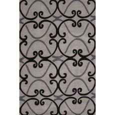 Contemporary Trellis, Chain And Tile Pattern Gray/Black Polyester Area Rug (7.6X9.6)