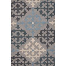 Contemporary Trellis, Chain And Tile Pattern Gray/Blue Polyester Area Rug (7.6X9.6)