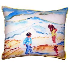 Wading At The Beach Large Indoor Outdoor Pillow