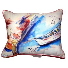 Rowboat & Birds Large Indoor Outdoor Pillow