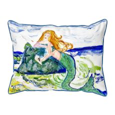 Mermaid On Rock Large Pillow 16X20