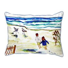Running At The Beach Large Pillow 16X20