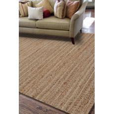 Naturals Solid Pattern Taupe/Ivory Jute And Cotton Area Rug (9X12)