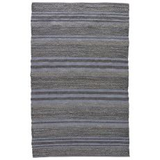 Naturals Stripes Pattern Blue/Gray Jute And Cotton Area Rug ( 9X12)