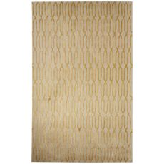 Contemporary Trellis, Chain And Tile Pattern Tan/Yellow Wool And Art Silk Area Rug (8X10)