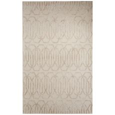 Contemporary Trellis, Chain And Tile Pattern Gray/Ivory Wool And Art Silk Area Rug (8X10)