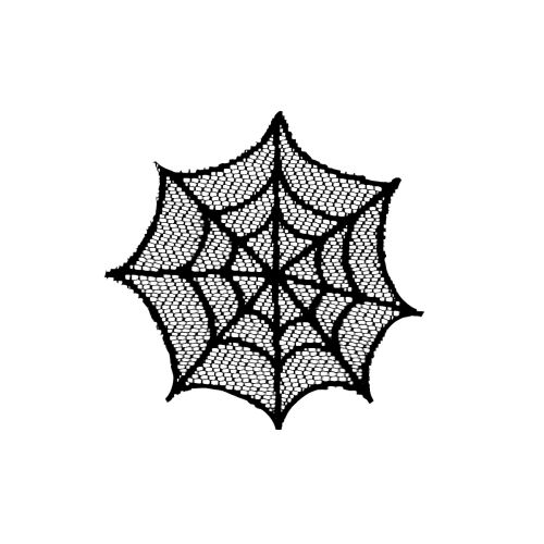 """Spider Web 6"""" Round Doily, Black"""