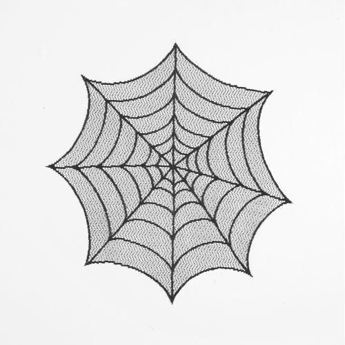 """Spider Web 20"""" Round Doily, Black"""