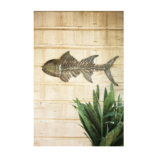 Hand Hammered Metal Fish Bones Wall Hanging
