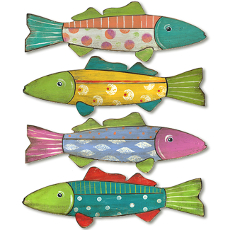 Wooden Fish Silhouettes Plague Set of 4 Indoor or Outdoor