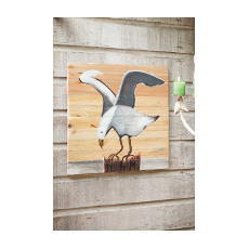 Hand Painted Seagull on Recycled Slatted Wood