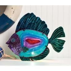 Glass Metal Fish Table Lamp