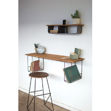 Wooden Wall Shelf with Two Wire Baskets