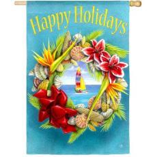 Happy Holidays Beach Wreath Flag