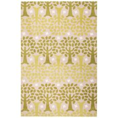 Youth Floral & Leaves Pattern Green/Ivory Polyester Area Rug (7.6X9.6)