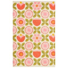 Youth Floral & Leaves Pattern Pink/Green Polyester Area Rug (7.6X9.6)