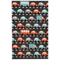 Youth Toy Pattern Dark Gray/Multi Polyester Area Rug (7.6X9.6)