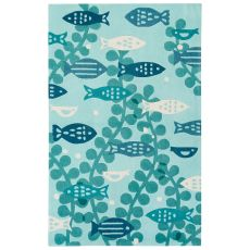 Youth Coastal Pattern Blue Polyester Area Rug (7.6x9.6)