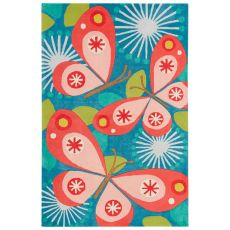 Youth Floral & Leaves Pattern Blue/Pink Polyester Area Rug (7.6X9.6)