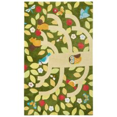 Youth Floral & Leaves Pattern Green/Yellow Polyester Area Rug (7.6X9.6)