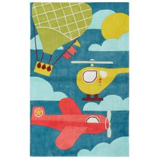 Youth Toy Pattern Blue/Yellow Polyester Area Rug (7.6X9.6)