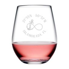 Custom Coordinates Infinity Anchor Acrylic Stemless Wine Glasses S/4