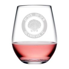 Custom Coordinates Seashell Acrylic Stemless Wine Glasses S/4