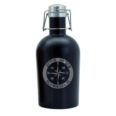 Custom Coordinates Compass Rose Black Stainless Steel Beer Growler