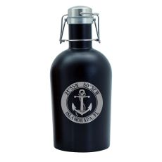Custom Coordinates Anchor Black Stainless Steel Beer Growler