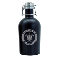 Custom Coordinates Sea Turtle Black Stainless Steel Beer Growler