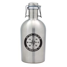 Custom Coordinates Compass Rose Stainless Steel Beer Growler