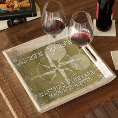 Custom Coordinates Compass Rose Serving Tray - Khaki