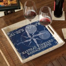 Custom Coordinates Compass Rose Serving Tray - Navy
