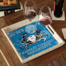 Custom Coordinates Crab Serving Tray - Blue