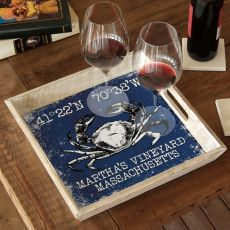 Custom Coordinates Crab Serving Tray - Navy