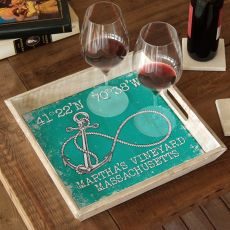 Custom Coordinates Infinity Anchor Serving Tray - Aqua