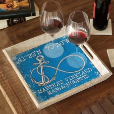 Custom Coordinates Infinity Anchor Serving Tray - Blue