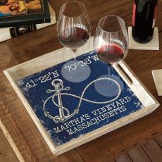 Custom Coordinates Infinity Anchor Serving Tray - Navy