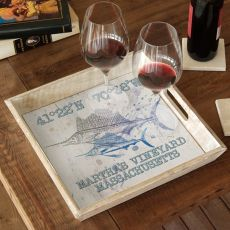 Custom Coordinates Sailfish Serving Tray - Duo On White