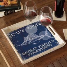 Custom Coordinates Sailfish Serving Tray - Navy