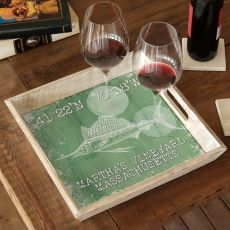 Custom Coordinates Sailfish Serving Tray - Nile Green